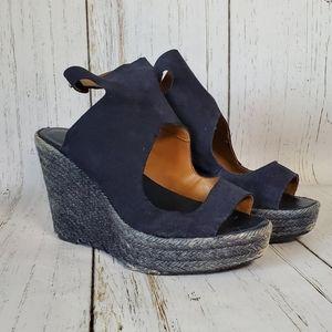 Zara Blue Espadrilles Platform Wedges size 9/40